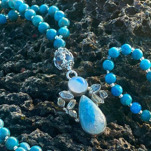 Blue Apatite K2 Jasper Herkimer Diamond Rainbow Moonstone and Clear Quartz Mala