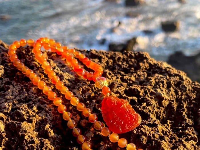 Red-Orange Carnelian Kwan Yin Mala-02