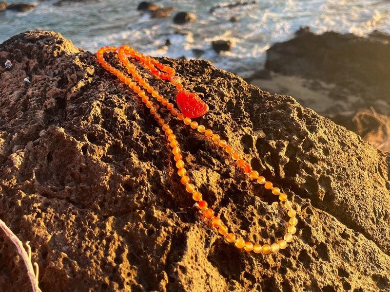 Red-Orange Carnelian Kwan Yin Mala